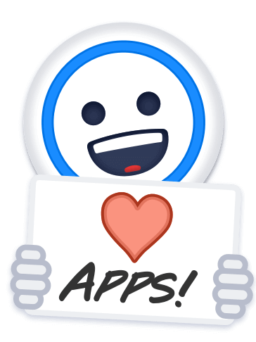 1Password icon holding a sign reading 'We Love Apps'