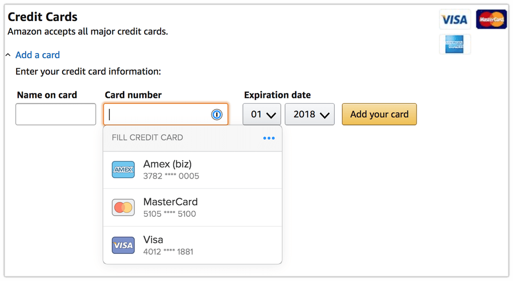 Adding a credit card form on Amazon with 1Password X suggesting cards to fill