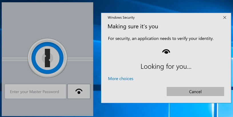 1Password mini lock screen with Windows Hello preparing to identity you