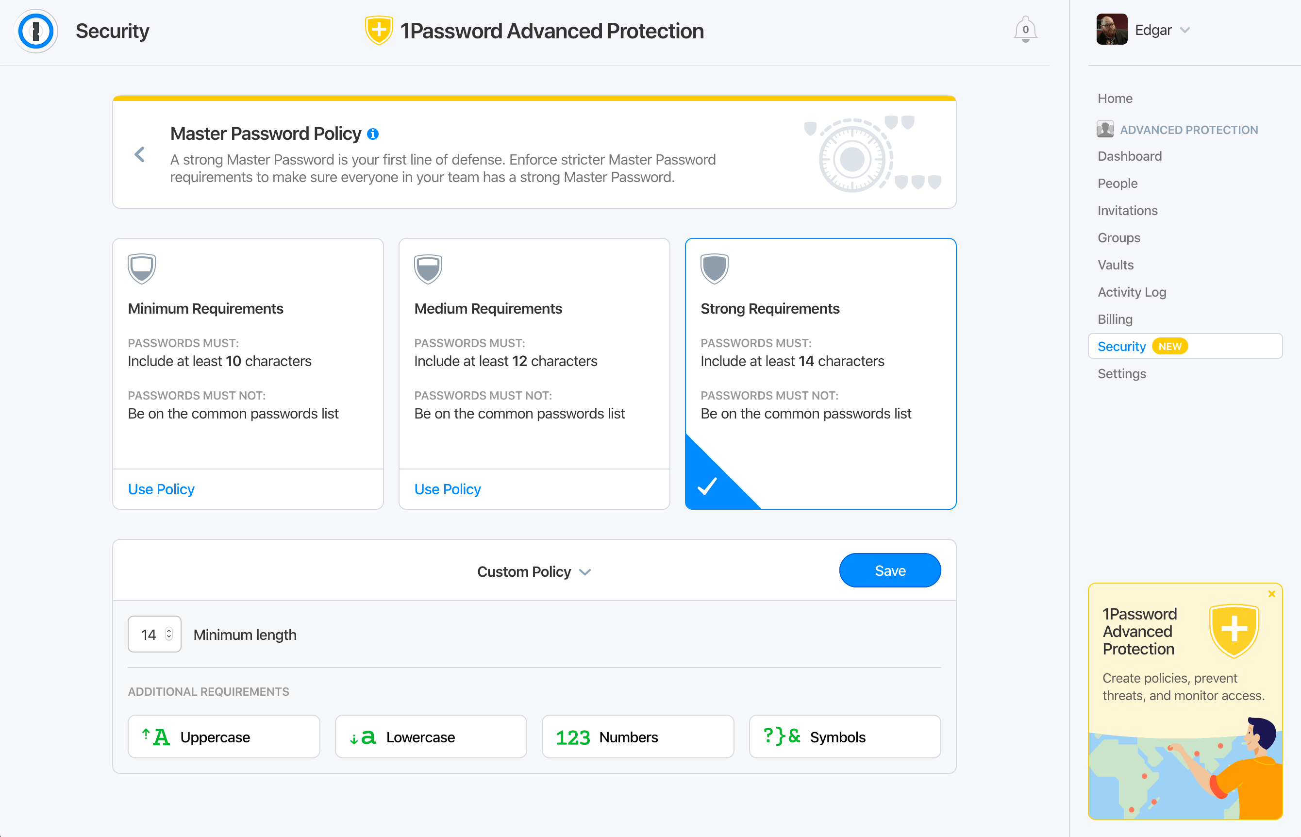 Screenshot of Master Password Policy controls in 1Password Advanced Protection