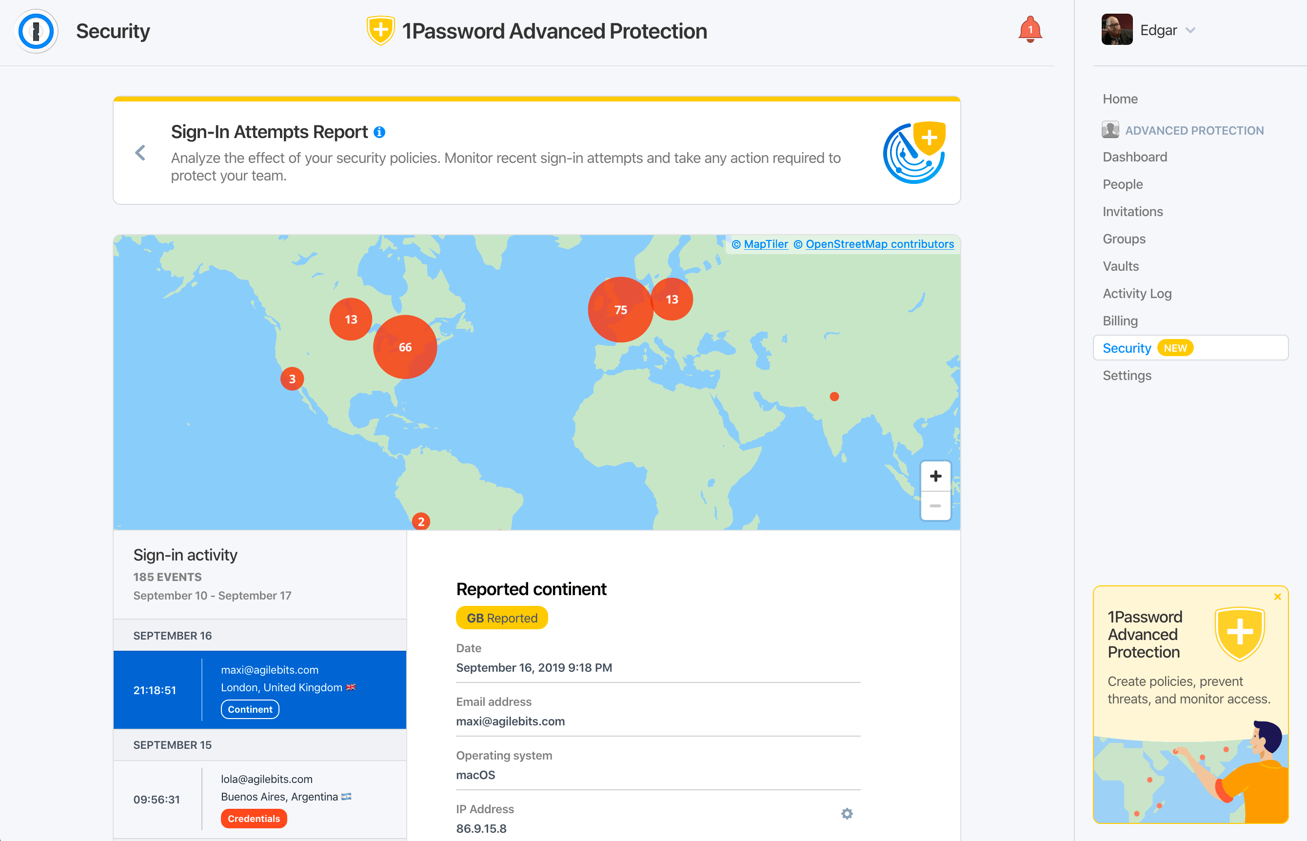Screenshot of map showing failed sign in attempts in 1Password Advanced Protection