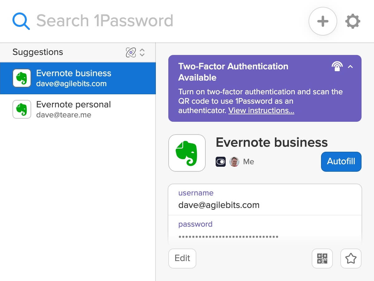 New 1Password X pop-up showing Evernote logins with a Watchtower alert for enabling 2FA
