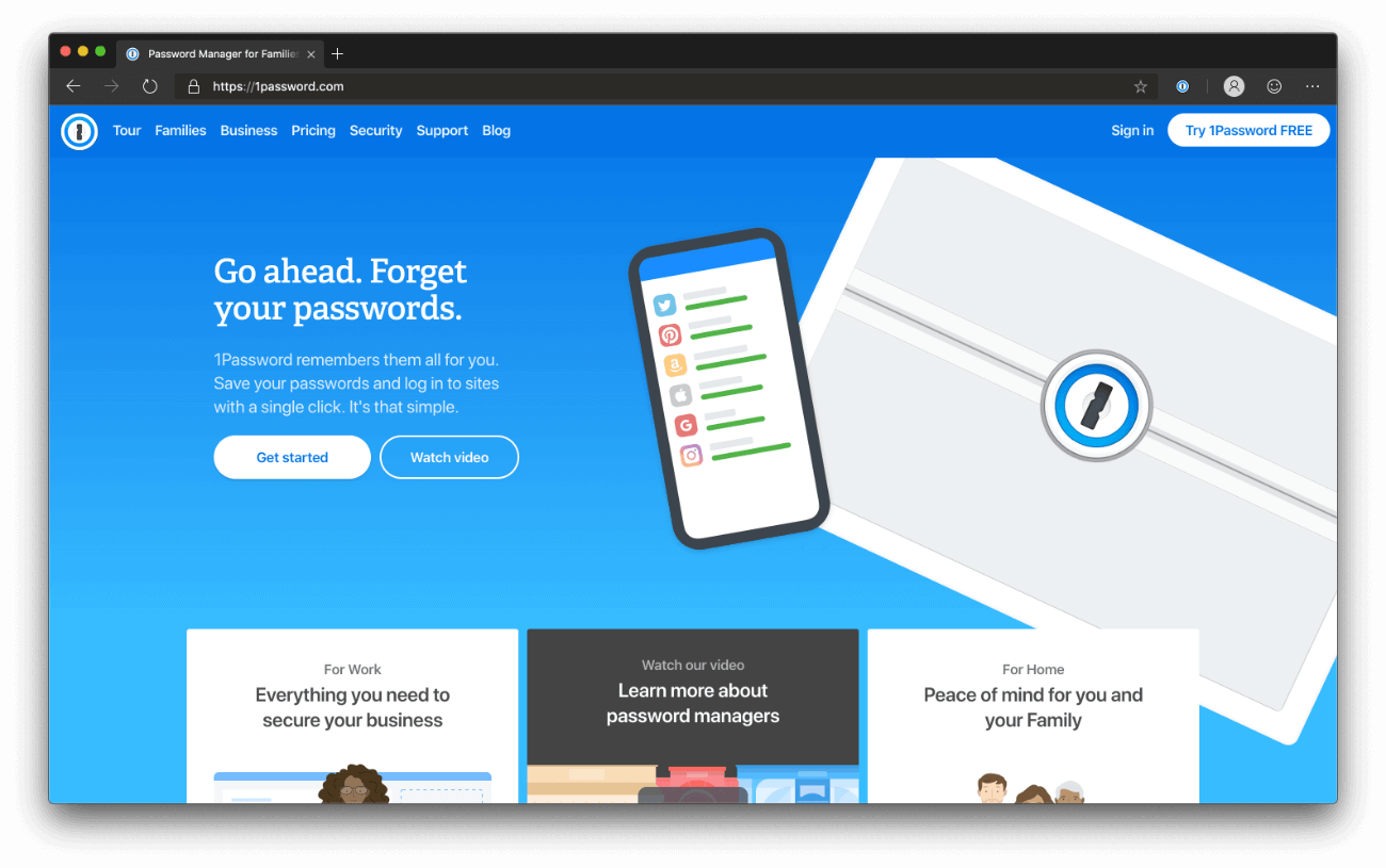 1Password homepage - dark mode