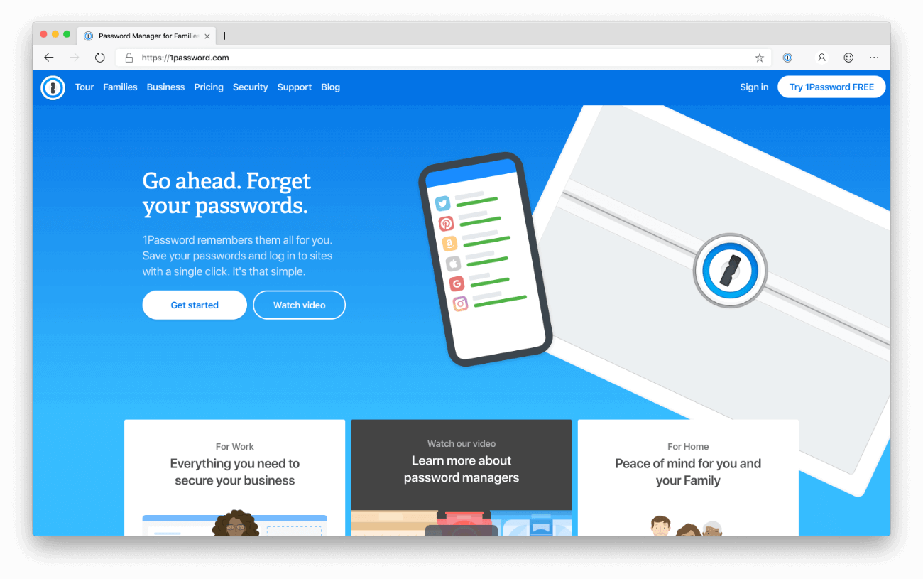 1Password homepage - light mode
