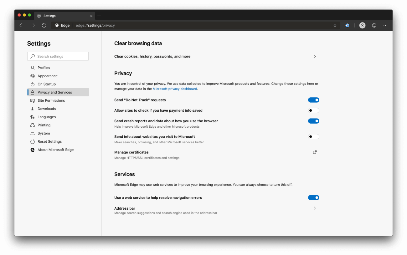 Microsoft Edge Privacy Dashboard - dark mode