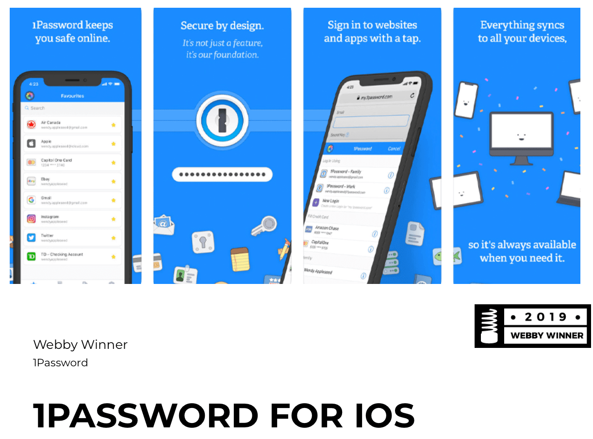 1Password Webby Winner