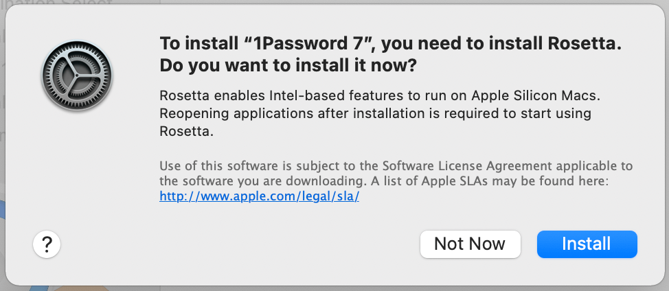 Install Rosetta to launch 1Password 7 when compiled to Intel x86