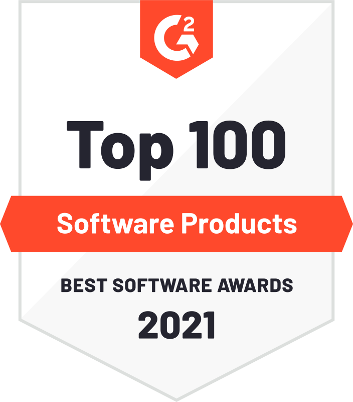 G2 awards badge showing 1Password in the top 100 best software products for 2021
